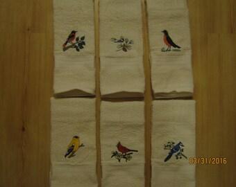 New Bird Hand Towels, Choose Cardinal, Blue Jay, Chickadee, Oriole, Goldfinch, Robin