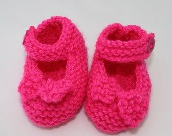 Hand Knitted Neon Pink Mary Jane Shoes for Baby Girl // Size Up-To 4 Months // Cute Baby Gifts // Baby Girl Clothing // Baby Girl Crib Shoes