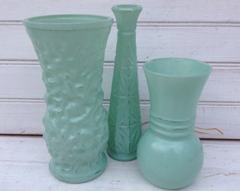 Mint Green Vases / Set of 3 / Painted Upcycled Catalina Mist Shabby Chic Home Decor (C007.3)