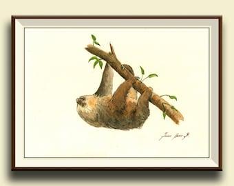 PRINT-Sloth animal - Two toed sloth painting watercolor - Sloth art nursery forest animal decor - Art Print by Juan Bosco