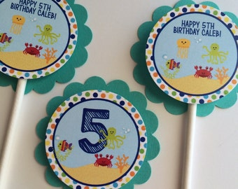 Cupcake Toppers, 12 Under The Sea Birthday Party Cupcake Toppers -Under The Sea, boy Birthday Party Decorations