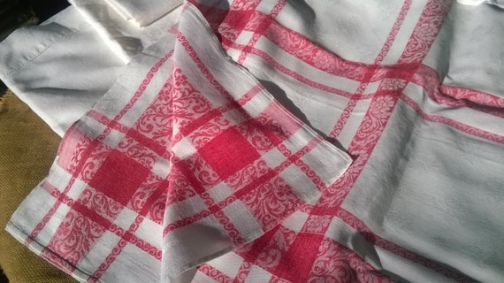 Large Red Damask Tablecloth French Cotton French Empire Style #sophieladydeparis