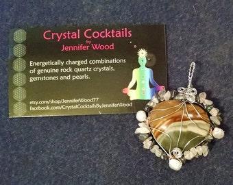 Mookaite Heart with Labradorite, Moonstone, Rose Quartz and Hematite pendant