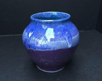Vase Ceramic Pottery Blue Aqua Purple Wheel Thrown Handmade