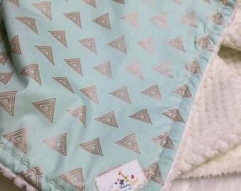 Gold Baby Bedding - Mint Gold - Baby Bedding - Gold Triangle
