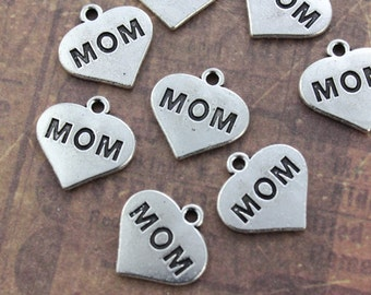 10 Mom Sign Charms Antiqued Silver Tone  16 x 13 mm