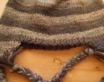 Striped Ear Flap Hat- Large