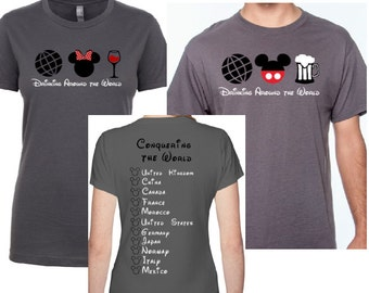Disney Drinking Around the World Couples Shirts | Disney Shirts | Vacation Shirts | Husband Wife | Epcot | Epcot World Showcase