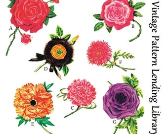 1950s Fabric Flowers For Embellishment - Reproduction Pattern #A2379