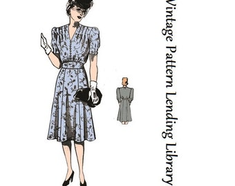 1940s Ladies Day Dress With Shoulder Tuckd - Reproduction Sewing Pattern #F4732
