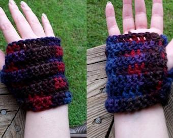 Short Crocheted Multicolour Fingerless Gloves