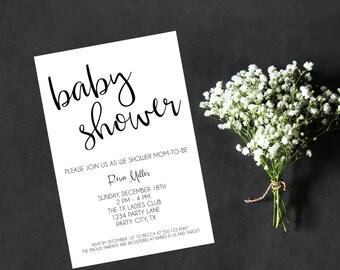 Baby Shower Invitation / Printable Baby Shower Invite / Bridal Shower / Calligraphy / Hand Lettered / Girl Shower / Boy Shower / Classy