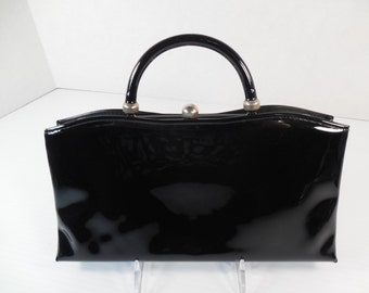 Vintage Black Patent Leather Purse Clutch Handbag By Ande Convertible Purse to Clutch Fold Down Concealed Handle Mid Century 1950's 1960's