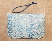 Uppity Little Wristlet, Handcrafted Blue Ivory Leather Wristlet, Makeup Bag, Pouch, Pencil Case, Evening Bag, Organizer, Glasses Case