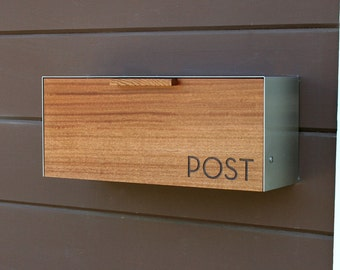 Modern Mailbox,  Mahogany and Stainless Steel Mailbox