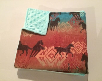 Western Baby Blanket, Horse Baby Blanket, Minky Baby Blanket, Horse Baby Bedding, Western Baby Bedding, navajo baby blanket, navajo baby