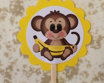 Monkey with banana cupcake toppers