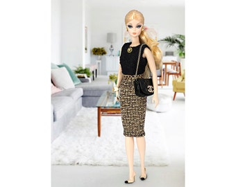 Black&gold Chanel style dress for Barbie and Poppy Parker