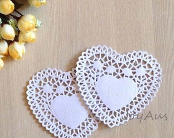 100x 4inch White Love-heart Paper Lace Doilies - Wedding Party Cake Centerpiece Garland - Christmas Gift Box Bag Favors