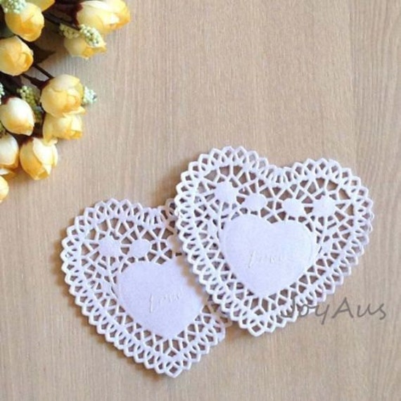 100x 4inch White Love-heart Paper Lace Doilies | Wedding Party Cake Centerpiece Garland Decoration | Gift Box Bag Embellishment Wrap