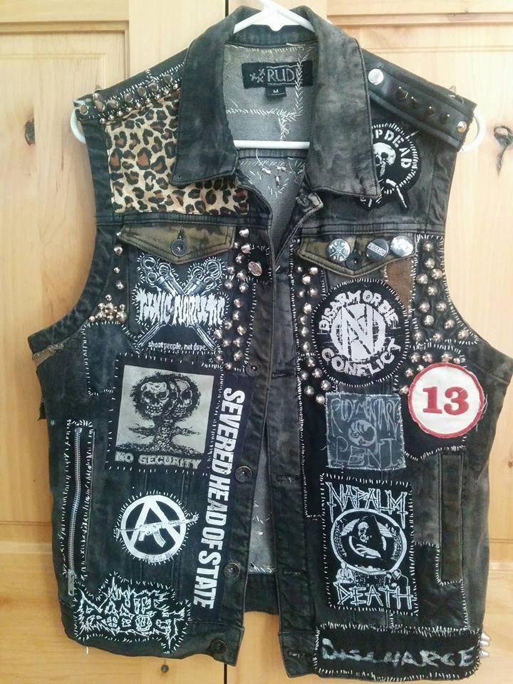 Punk Rock Vest Studded Denim Vest Crust Punk Vest Punk Rock