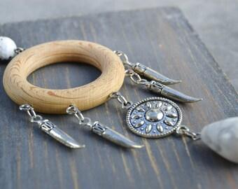 Dreamcatcher necklace style - wooden necklace - necklace dreamcatcher natural wood, agate and howlite necklace pendants - long necklace boho