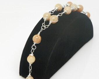 Chaplet Bracelet made  with beige gemstone beads -rosary bracelet (BRB6)