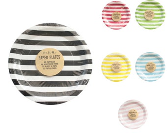 Paper Party Plates Lines - Tableware Wedding Birthday Decorations