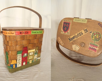 Vintage 1960s Handbag - 60s Basket Purse / Basket Handbag / Hand Painted Novelty Purse / 1960s Lunch Box Purse