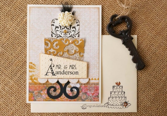 Unique Wedding Gift Card Holders : Personalized Wedding Gift Card Holder - Beige & Black Wedding Theme ...