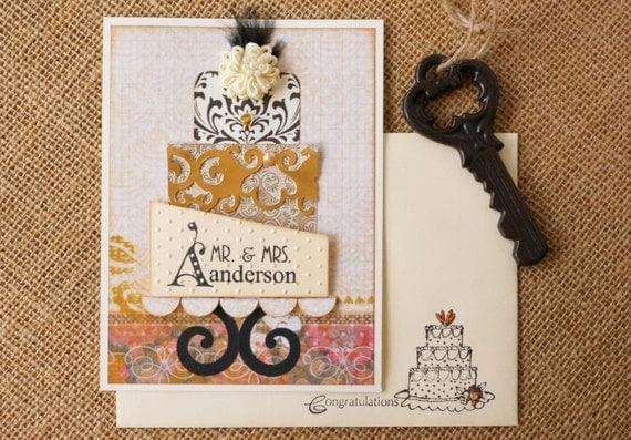 Personalized Wedding Gift Card Holder - Beige & Black Wedding Theme ...