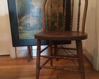 Primitive Wood Porch Chair // Antique Wood Chair // Wire Underneath Spindle Support // Vintage Wood Bow Back Chair // Dining Chair