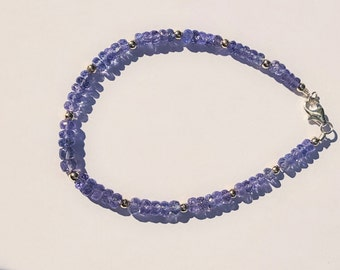 25.13ctw Tanzanite Sterling Silver Bead Bracelet 8 inch