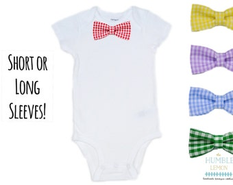 Baby Boy Bow Tie Bodysuit with Interchangable Bow Tie: Easter, Preemie, Coming Home Outfit, Family Photos