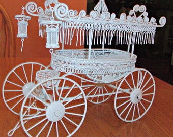 Vintage White Metal Carriage