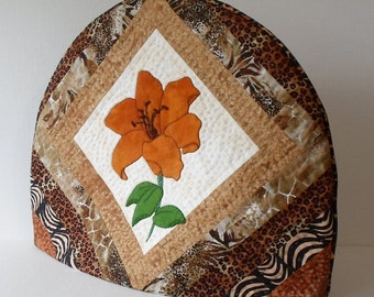 Handmade Tea Cozy Quilted Cotton & Wool Tiger Lily