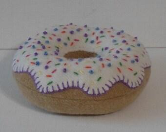 Handmade Felted Wool Vanilla Donut Pincushion