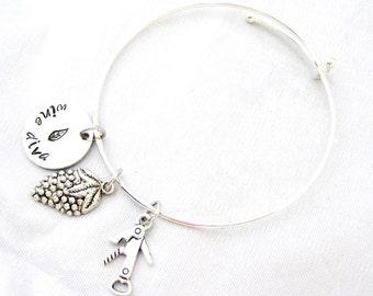 HAND STAMPED BANGLE Bracelet - Wine Diva, Wine Jewelry, Wine Lover