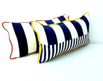 "Nautical Style Stripes Throw Pillow 18"" by 10"", Blue Stripes on White Beach Cushion Design, Free Shipping"