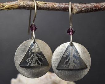 Disc Dangle Earrings with Hand Etched Pattern