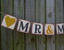 Mr Mrs Wedding Banner - Wedding Sign- Photo Prop