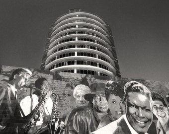 Hollywood California Photography, Capitol Records Building Mural, Black and White Photography, Vine Street Hollywood, Limited Ed Photo Print