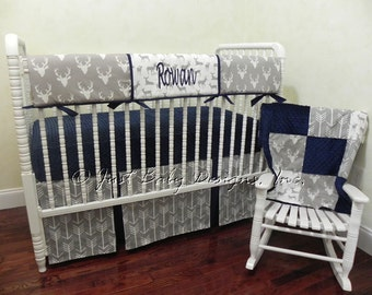 Baby Boy Bedding Set Rowan -  Boy Crib Bedding, Crib Rail Cover, Deer Baby Bedding, Gray Arrows and Navy Baby Bedding