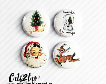 "4 buttons 1 ""Christmas vintage"