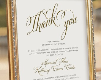 Printable Wedding Donation Sign - in Lieu of Traditional Favors - Wedding Reception Sign - Thank you Sign