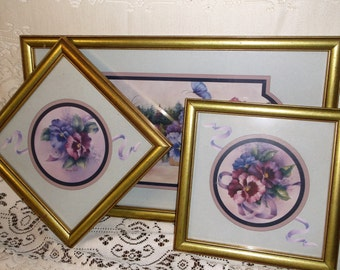 Three Vintage Homco Home Interiors Framed Prints  SET of Three Vintage Pansy Prints