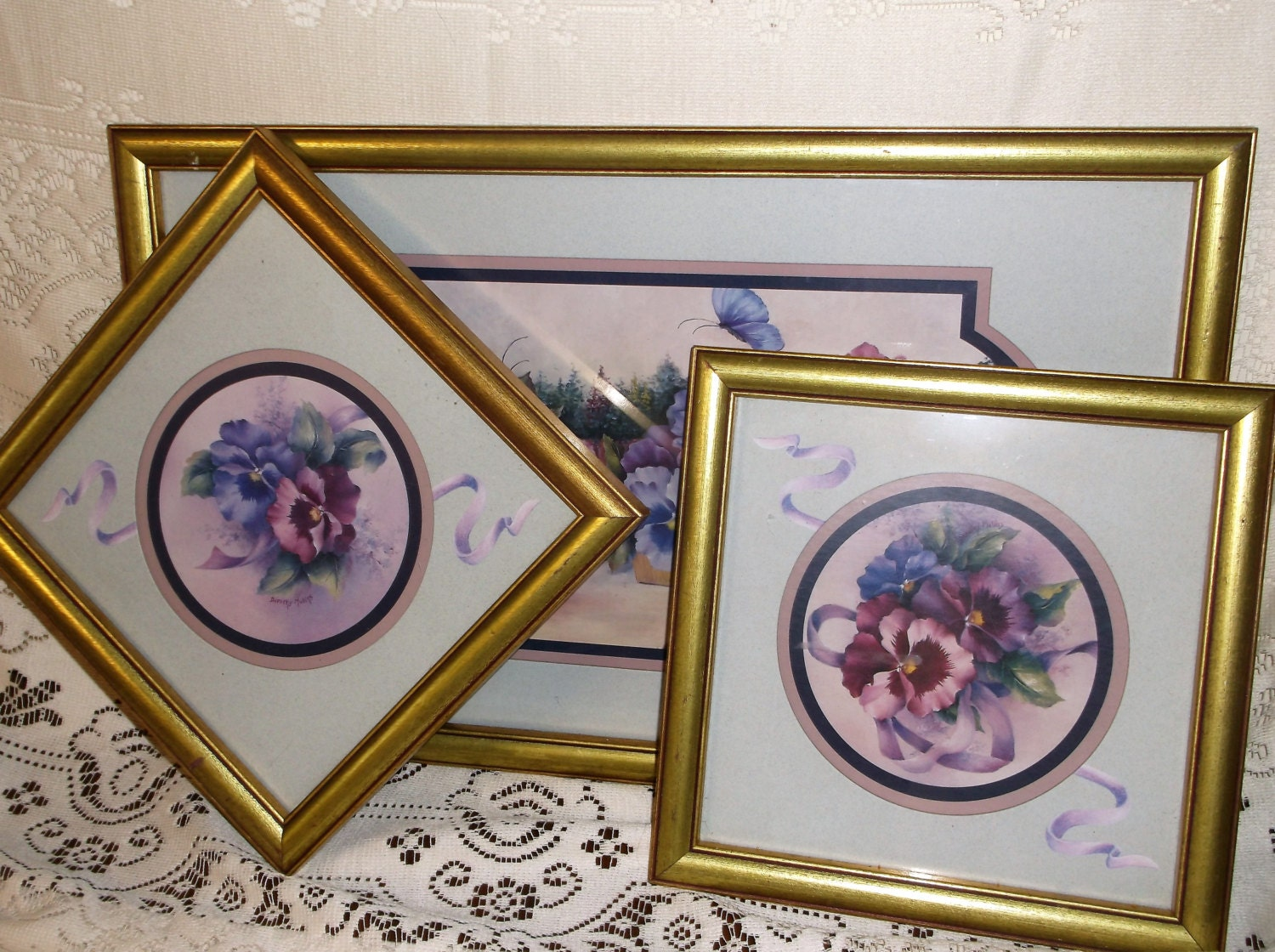 Three Vintage Homco Home Interiors Framed Prints Set Of Three