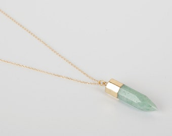 Gold Plated Necklace Green Natural Gem Aventurin Stone Golden  Necklace