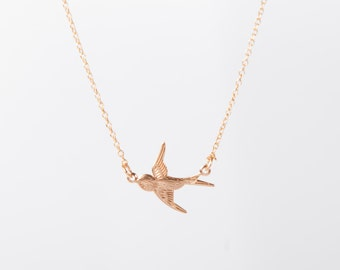 Fine Rosegold Necklace Swallow Bird Necklace Golden Birdy Necklace Anchor Gold Plated