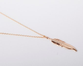Fine Rosegolden Necklace Feather Leaf Necklace Rose Gold Plated  Ethno